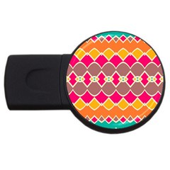 Symmetric shapes in retro colors			USB Flash Drive Round (1 GB)