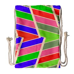 Symmetric Distorted Rectangles Large Drawstring Bag