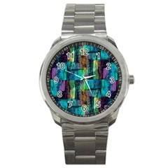 Abstract Square Wall Sport Metal Watches