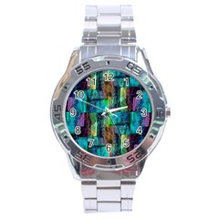 Abstract Square Wall Stainless Steel Men s Watch