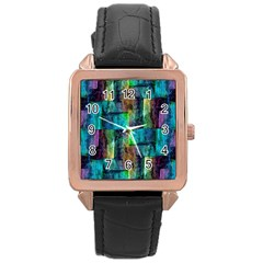 Abstract Square Wall Rose Gold Watches