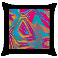Distorted shapesThrow Pillow Case (Black)