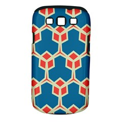 Orange shapes on a blue background			Samsung Galaxy S III Classic Hardshell Case (PC+Silicone)