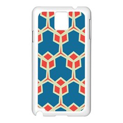 Orange shapes on a blue backgroundSamsung Galaxy Note 3 N9005 Case (White)
