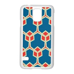 Orange shapes on a blue backgroundSamsung Galaxy S5 Case (White)