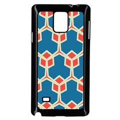 Orange shapes on a blue backgroundSamsung Galaxy Note 4 Case (Black)