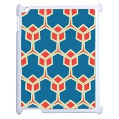 Orange shapes on a blue backgroundApple iPad 2 Case (White)