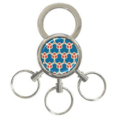 Orange shapes on a blue background			3-Ring Key Chain
