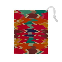 Retro Colors Distorted Shapes Drawstring Pouch