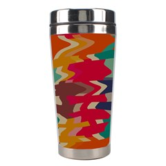 Retro colors distorted shapes Stainless Steel Travel Tumbler