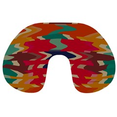 Retro colors distorted shapes Travel Neck Pillow