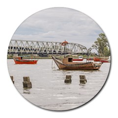 Boats At Santa Lucia River In Montevideo Uruguay Round Mousepads