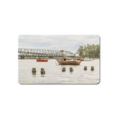 Boats At Santa Lucia River In Montevideo Uruguay Magnet (Name Card)