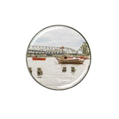 Boats At Santa Lucia River In Montevideo Uruguay Hat Clip Ball Marker
