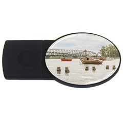Boats At Santa Lucia River In Montevideo Uruguay USB Flash Drive Oval (4 GB)