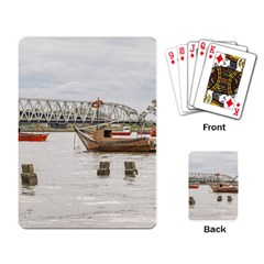 Boats At Santa Lucia River In Montevideo Uruguay Playing Card