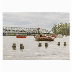 Boats At Santa Lucia River In Montevideo Uruguay Large Glasses Cloth