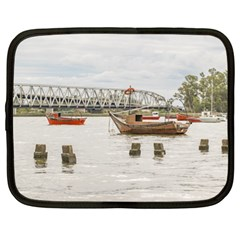 Boats At Santa Lucia River In Montevideo Uruguay Netbook Case (XL)