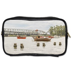 Boats At Santa Lucia River In Montevideo Uruguay Toiletries Bags