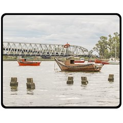 Boats At Santa Lucia River In Montevideo Uruguay Fleece Blanket (medium)