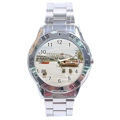Boats At Santa Lucia River In Montevideo Uruguay Stainless Steel Men s Watch