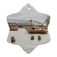 Boats At Santa Lucia River In Montevideo Uruguay Ornament (Snowflake)
