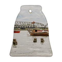 Boats At Santa Lucia River In Montevideo Uruguay Bell Ornament (2 Sides)