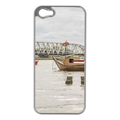 Boats At Santa Lucia River In Montevideo Uruguay Apple iPhone 5 Case (Silver)