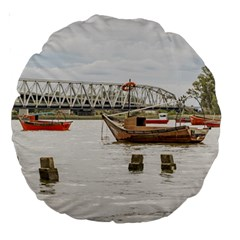Boats At Santa Lucia River In Montevideo Uruguay Large 18  Premium Round Cushions