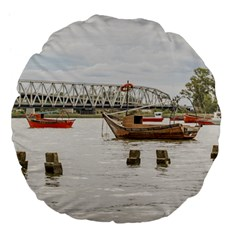Boats At Santa Lucia River In Montevideo Uruguay Large 18  Premium Flano Round Cushions