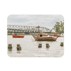 Boats At Santa Lucia River In Montevideo Uruguay Double Sided Flano Blanket (Mini)