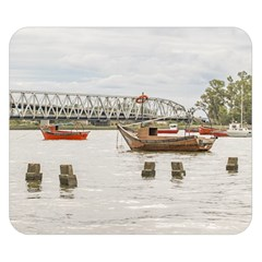 Boats At Santa Lucia River In Montevideo Uruguay Double Sided Flano Blanket (small)