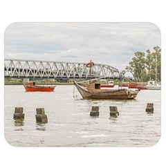 Boats At Santa Lucia River In Montevideo Uruguay Double Sided Flano Blanket (Medium)