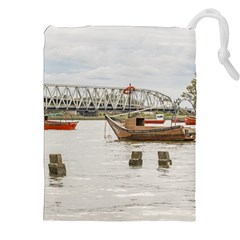 Boats At Santa Lucia River In Montevideo Uruguay Drawstring Pouches (xxl)