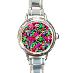 Colorful Leaves Round Italian Charm Watches