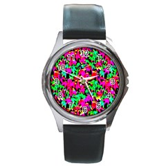 Colorful Leaves Round Metal Watches