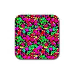 Colorful Leaves Rubber Coaster (Square)