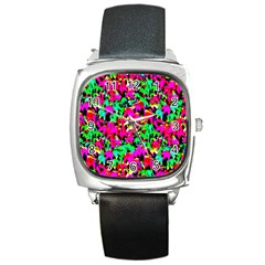 Colorful Leaves Square Metal Watches