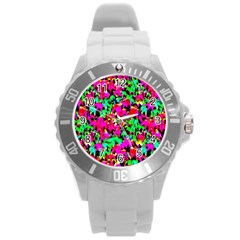 Colorful Leaves Round Plastic Sport Watch (L)