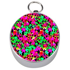 Colorful Leaves Silver Compasses