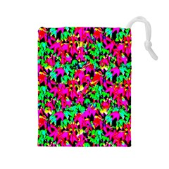 Colorful Leaves Drawstring Pouches (large)