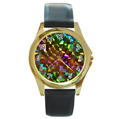 Cool Glitter Pattern Round Gold Metal Watches