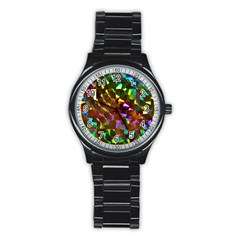 Cool Glitter Pattern Stainless Steel Round Watches