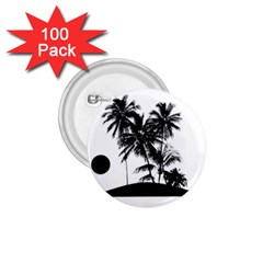 Tropical Scene Island Sunset Illustration 1.75  Buttons (100 pack)