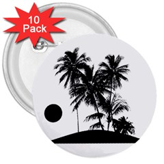 Tropical Scene Island Sunset Illustration 3  Buttons (10 pack)