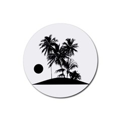 Tropical Scene Island Sunset Illustration Rubber Coaster (Round)