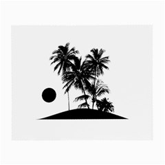 Tropical Scene Island Sunset Illustration Small Glasses Cloth