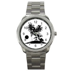 Tropical Scene Island Sunset Illustration Sport Metal Watches