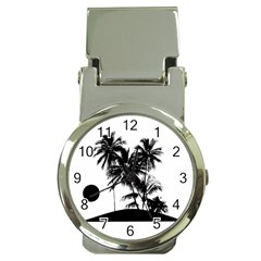 Tropical Scene Island Sunset Illustration Money Clip Watches
