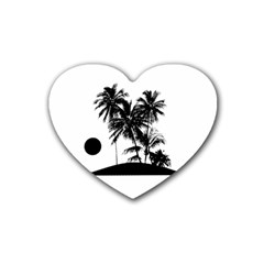 Tropical Scene Island Sunset Illustration Heart Coaster (4 pack)